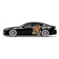 Бортовая наклейка на  авто череп скелет смерть